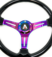 350mm 6 Bolt Neo Chrome Style Universal Steering Wheel (Black) - Tanaka Power Sport