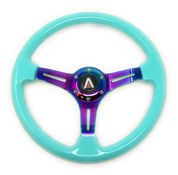 350mm 6 Bolt Neo Chrome Style Universal Steering Wheel (Cyan) - Tanaka Power Sport