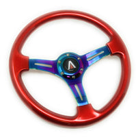 350mm 6 Bolt Neo Chrome Style Universal Steering Wheel (Red) - Tanaka Power Sport
