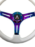 350mm 6 Bolt Neo Chrome Style Universal Steering Wheel (White) - Tanaka Power Sport
