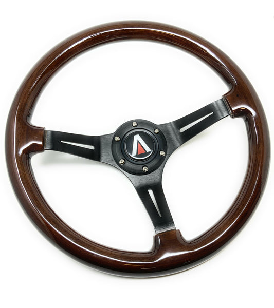 350mm 6 Bolt Real Wood Finish Universal Steering Wheel (Black) - Tanaka Power Sport