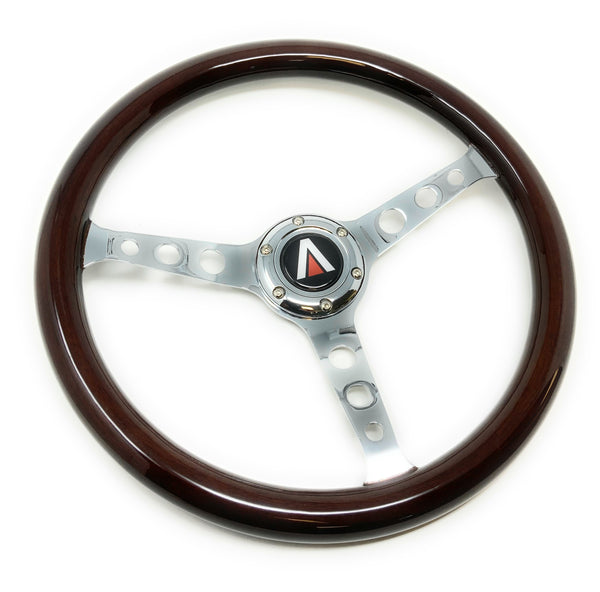 380mm 6 Bolt Real Wood Finish Universal Steering Wheel (Chrome) - Tanaka Power Sport