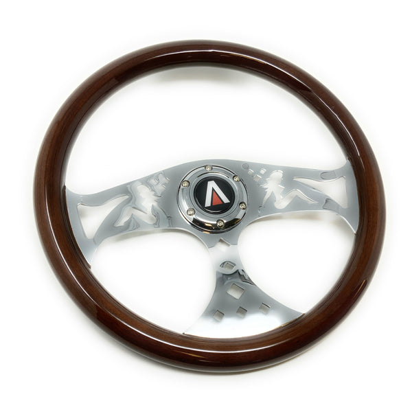 380mm 6 Bolt Real Wood Finish Universal Steering Wheel (Lowrider) - Tanaka Power Sport