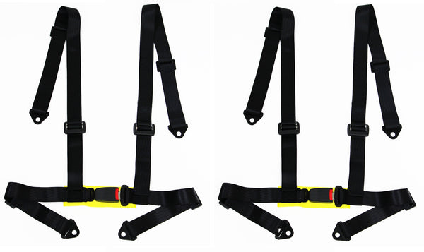 2 x Logo Free Universal Design 4-Point Buckle Sports Racing Harness Seat Belt (Black) - Tanaka Power Sport