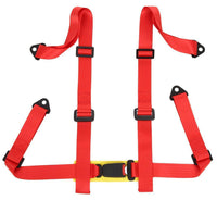2 x Logo Free Universal Design 4-Point Buckle Sports Racing Harness Seat Belt (Red) - Tanaka Power Sport