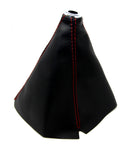 Universal PU Leather Shift Boot for Manual / Auto Shifter Black color with Red Stitching - Tanaka Power Sport