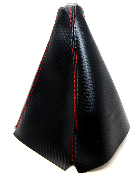 Red Stitching PU Leather Shift Boot Universal for Manual Carbon Fiber Pattern - Tanaka Power Sport