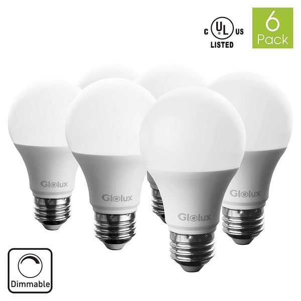 Glolux A19 Dimmable LED Light Bulb, 60 Watt Equivalent With E26 Base 9 Watt Pack of 6 - Tanaka Power Sport
