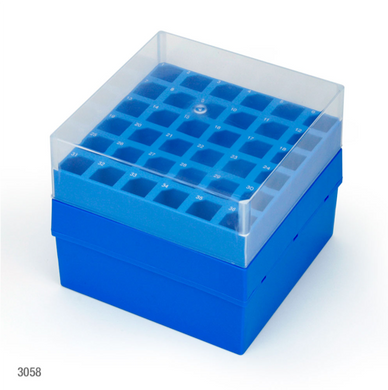 5ml, Centrifuge Tubes, Storage Box with Lid f, 36-Place (6x6), PP, Blue Base & Clear Lid