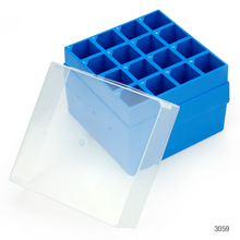 Load image into Gallery viewer, 50ml, Centrifuge Tube Storage Box with Lid, 16-Place (9x9), PP, Blue Base & Clear Lid