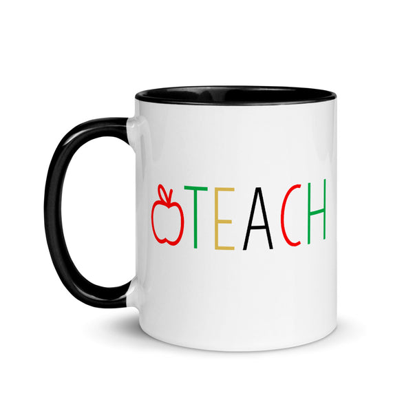 red, yellow, green TEACH mug