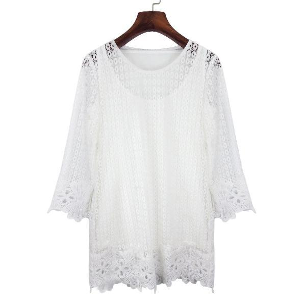 Plus Size Boho Overlay in white