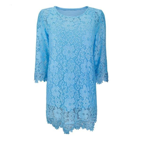 Plus size blue lace top