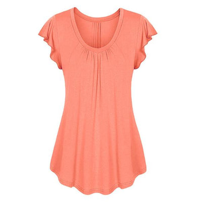 plus size top shirt cotton peach