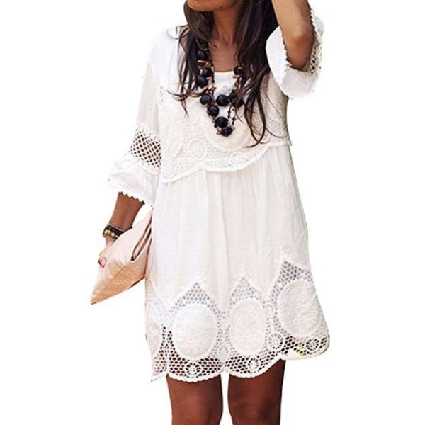 White Russian Mini Shift Dress
