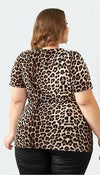leopard print plus size shirt top