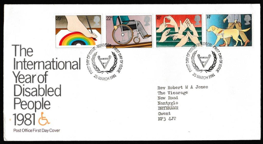 Great Britain First Day Cover, 'International Year of Disabled People', Royal Mail, Windsor, 25-Mar-1981