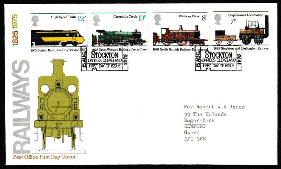 Great Britain First Day Cover, '150th Anniversary of Public Railways', Royal Mail, Stockton-on-Tees, Cleveland, 13-Aug-1975