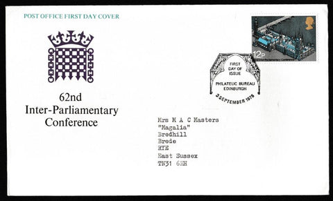 Great Britain First Day Cover, 'Inter-Parliamentary Union Conference', Royal Mail, Philatelic Bureau, Edinburgh, 03-Sep-1975