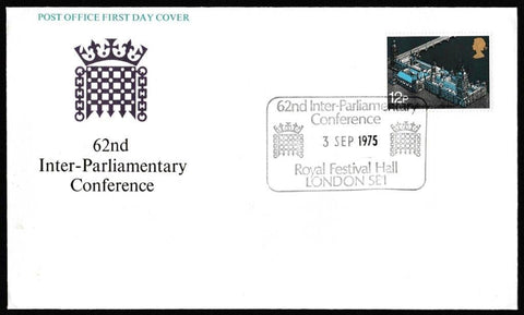 Great Britain First Day Cover, 'Inter-Parliamentary Union Conference', Royal Mail, Royal Festival Hall, London SE1, 03-Sep-1975