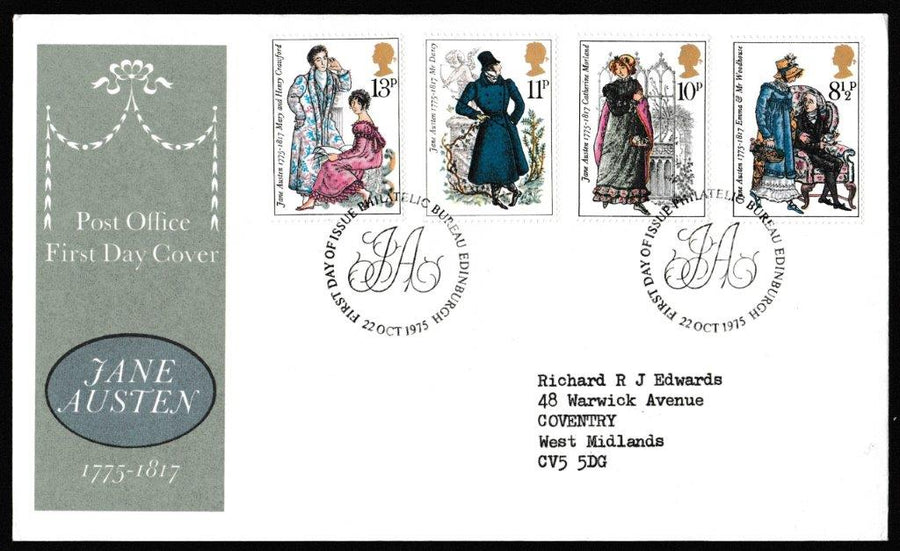 Great Britain First Day Cover, 'Bicentenary of Jane Austen', Royal Mail, Philatelic Bureau, Edinburgh, 22-Oct-1975
