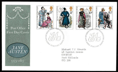 Great Britain First Day Cover, 'Bicentenary of Jane Austen', Royal Mail, Steventon, Basingtoke, 22-Oct-1975