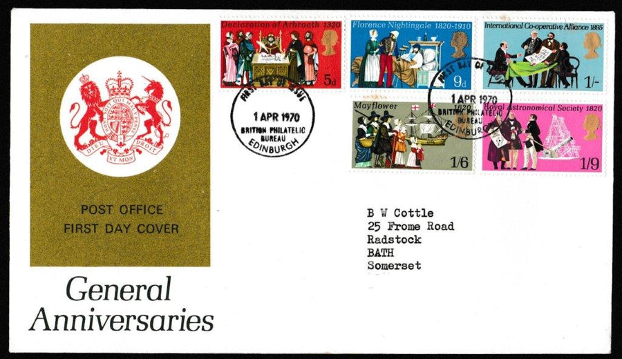 Great Britain First Day Cover, 'General Anniversaries', Royal Mail, British Post Office Philatelic Bureau, 01-Apr-1970