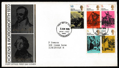 Great Britain First Day Cover, 'Literary Anniversaries', Royal Mail, British Post Office Philatelic Bureau, 03-Jun-1970