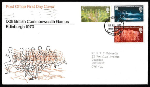 Great Britain First Day Cover, '9th British Commonwealth Games - Edinburgh', Royal Mail, British Post Office Philatelic Bureau, 15-Jul-1970