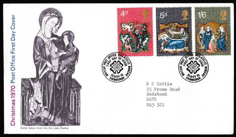 Great Britain First Day Cover, 'Christmas 1970', Royal Mail, British Post Office Philatelic Bureau, Edinburgh, 25-Nov-1970