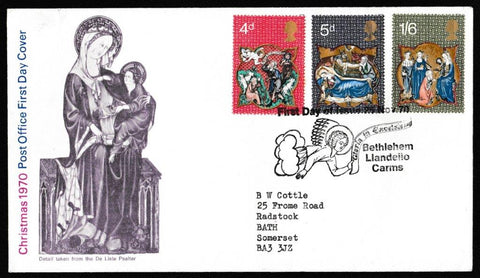 Great Britain First Day Cover, 'Christmas 1970', Royal Mail, Bethlehem, Llandeilo, 25-Nov-1970