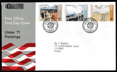 Great Britain First Day Cover, 'Ulster Paintings', Royal Mail, British Post Office Philatelic Bureau, 16-Jun-1971