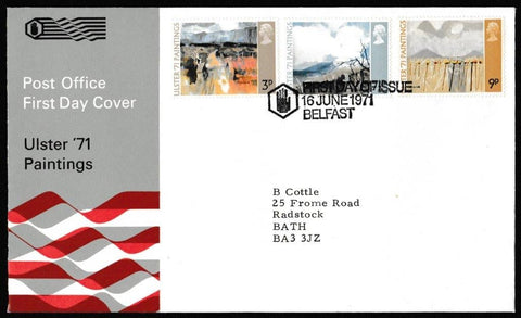 Great Britain First Day Cover, 'Ulster Paintings', Royal Mail, Belfast, 16-Jun-1971