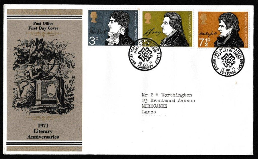 Great Britain First Day Cover, 'Literary Anniversaries', Royal Mail, British Post Office Philatelic Bureau, 28-Jul-1971