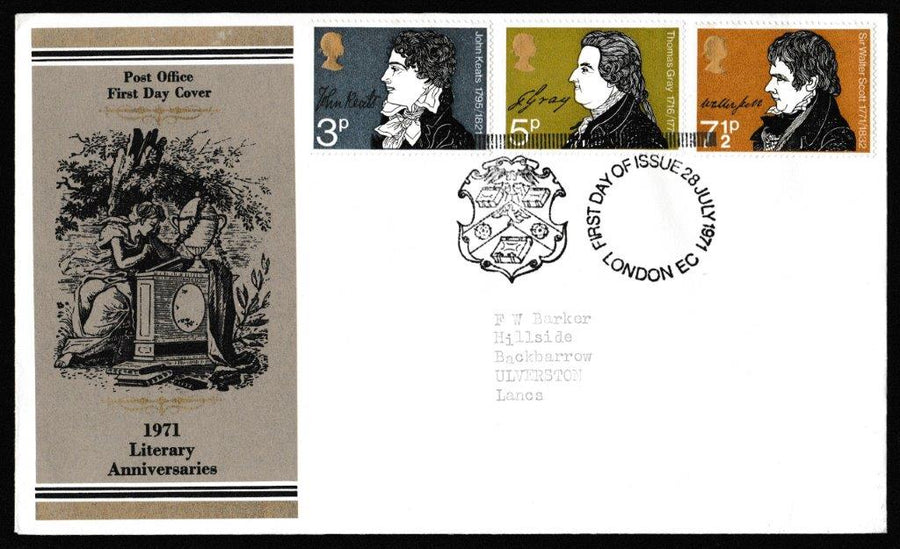 Great Britain First Day Cover, 'Literary Anniversaries', Royal Mail, London, EC, 28-Jul-1971