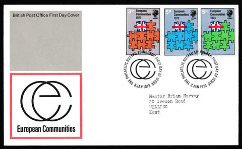 Great Britain First Day Cover, 'European Communities', Royal Mail, Philatelic Bureau, Edinburgh, 03-Jan-1973