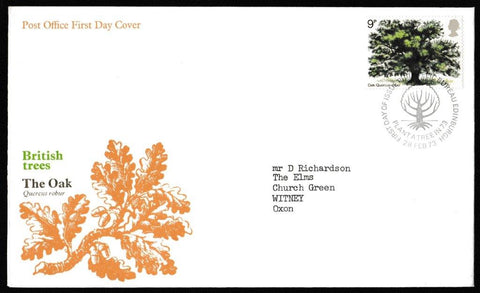 Great Britain First Day Cover, 'British Trees', Royal Mail, Philatelic Bureau, Edinburgh, 28-Feb-1973