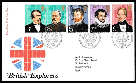 Great Britain First Day Cover, 'British Explorers', Royal Mail, Philatelic Bureau, Edinburgh, 18-Apr-1973