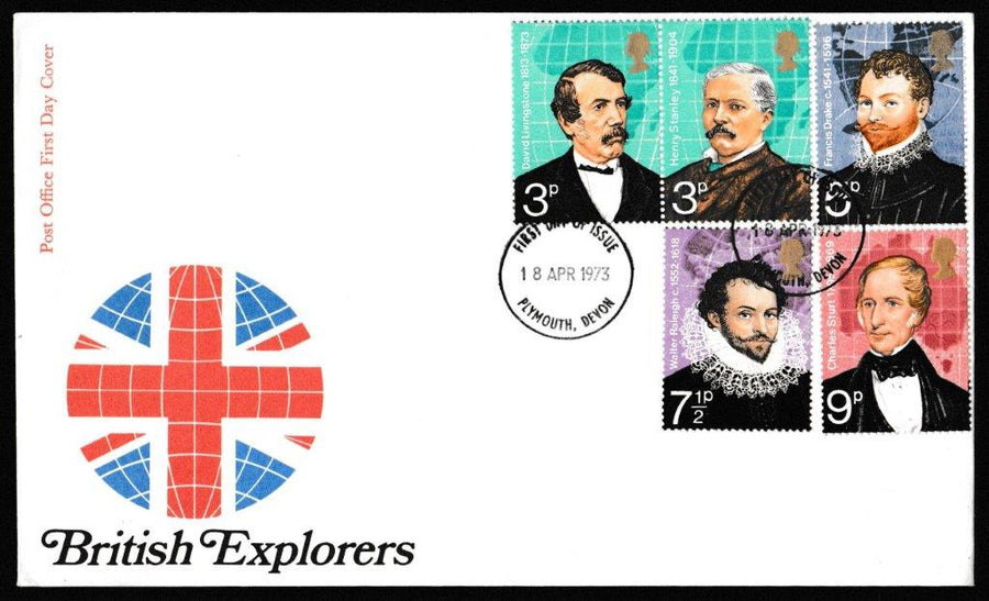 Great Britain First Day Cover, 'British Explorers', Royal Mail, Plymouth, Devon, 18-Apr-1973