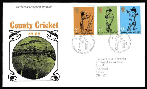 Great Britain First Day Cover, 'Centenary of County Cricket', Royal Mail, Philatelic Bureau, Edinburgh, 16-May-1973