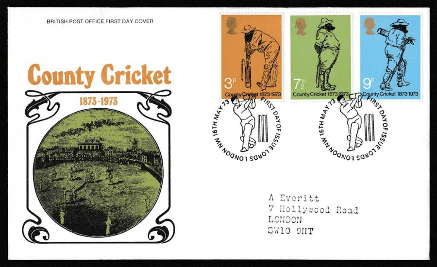 Great Britain First Day Cover, 'Centenary of County Cricket', Royal Mail, Lords, London NW, 16-May-1973
