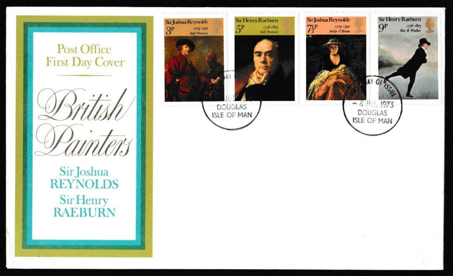 Great Britain First Day Cover, 'British Paintings', Royal Mail, Douglas, Isle of Man, 04-Jul-1973