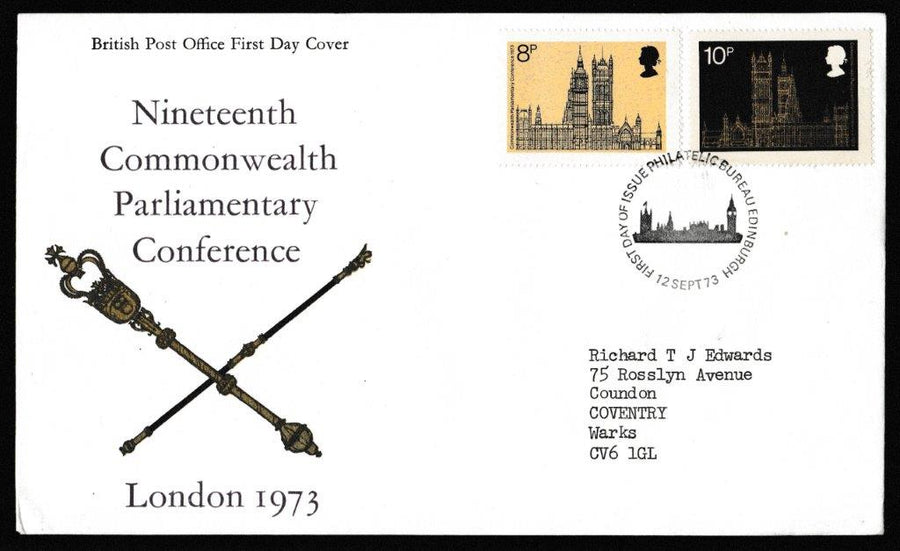 Great Britain First Day Cover, '19th Commonwealth Parliamentary Conference', Royal Mail, Philatelic Bureau, Edinburgh, 12-Sep-1973