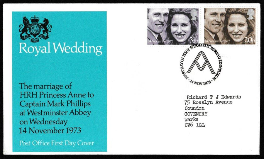 Great Britain First Day Cover, 'Royal Wedding', Royal Mail, Philatelic Bureau, Edinburgh, 14-Nov-1973