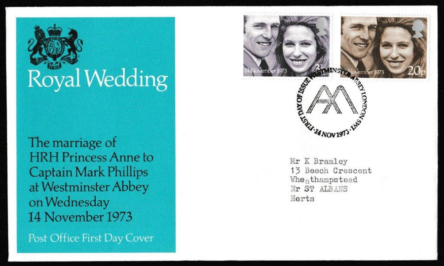 Great Britain First Day Cover, 'Royal Wedding', Royal Mail, Westminster Abbey, London SW1, 14-Nov-1973