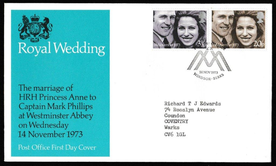 Great Britain First Day Cover, 'Royal Wedding', Royal Mail, Windsor, Berks, 14-Nov-1973