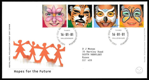 Great Britain First Day Cover, 'Hopes for the Future', Royal Mail, Philatelic Bureau, Edinburgh, 16-Jan-2001