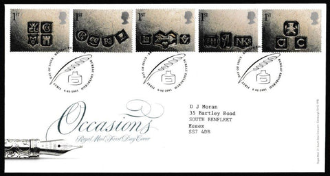 Great Britain First Day Cover, 'Greeting Stamps - Occasions', Royal Mail, Philatelic Bureau, Edinburgh, 06-Feb-2001