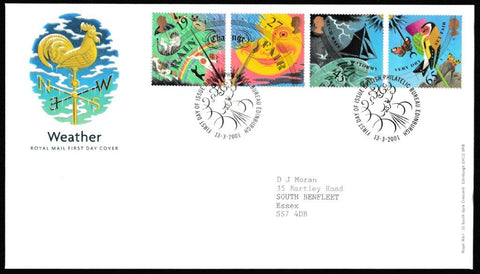 Great Britain First Day Cover, 'Weather', Royal Mail, Philatelic Bureau, Edinburgh, 13-Mar-2001