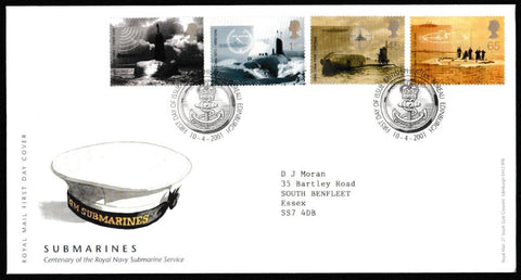 Great Britain First Day Cover, 'Submarines', Royal Mail, Philatelic Bureau, Edinburgh, 10-Apr-2001